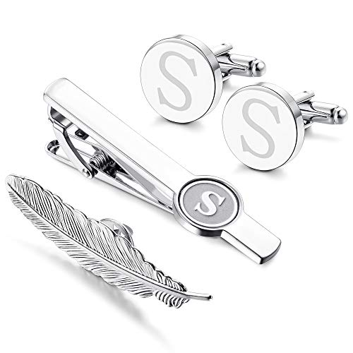 LOYALLOOK Initial Cufflinks and Tie Clip for Men Women Engraved Shirt Cufflink Alphabet A-Z Tie Bar Set for Business Wedding Gift Box ()