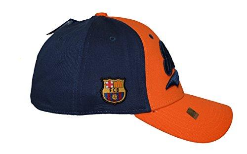 Fc Barcelona Flex Cap Six Panel Cursive Embroidery , Lionel Messi 10 , New Season 2015 (ORANGE BLUE LTTRS, L/X)