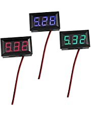 WayinTop 3pcs LED Panel Digital Display Voltage Meter 0.56 Inch 2 Wires DC4.5V-30.0V Volt Tester Panel Meter with Reverse Protection for Car Motorcycle (Red + Green + Blue)