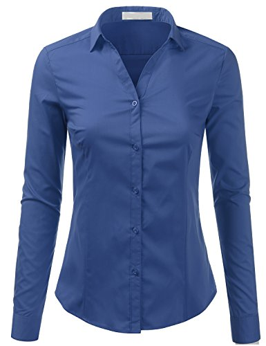 - Foryous Classic Womens Long Sleeve Sleeve Button Down Collar Shirts Casual Blouse