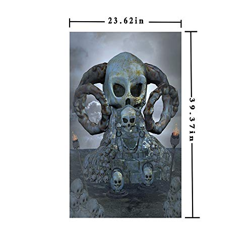Window Film Decorate Glass Film 3D Printed,Spooky Scary Throne with Many Skulls Horns and Torches Graves Death Ghosts Theme,W15.7xL63in,for Home Office with Bluegrey Silver