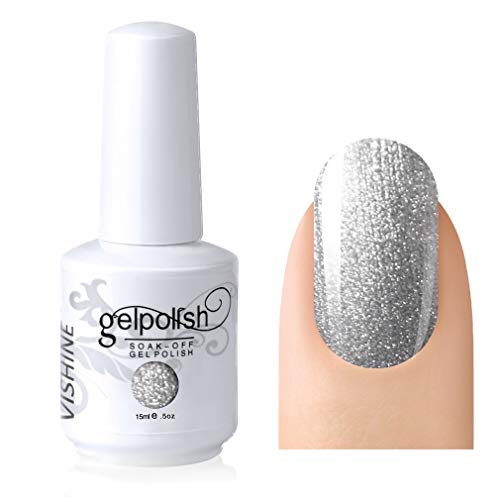 Vishine Soak-off Gel Polish Lacquer Nail Art UV LED Manicure Varnish 15ml Pearl Silver(231)