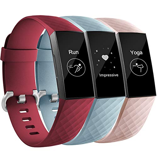 Maledan Compatible with Fitbit Charge 3 Bands, 3-Pack, Wine Red/Pink/Aqua, Small