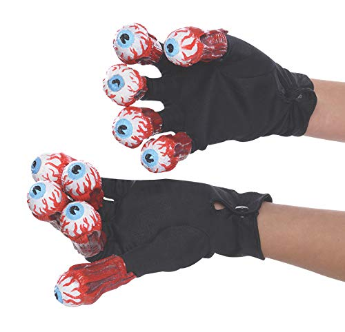 Eyeball Costumes For Halloween (Rubie's Men's Beetlejuice Adult Gloves with Eyeballs, Multi, One)