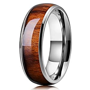 Three Keys Jewelry 8mm Titanium Wedding Band Engagement Ring Silver with Real Santos Rosewood Wood Inlay Comfort Fit Size 6.5