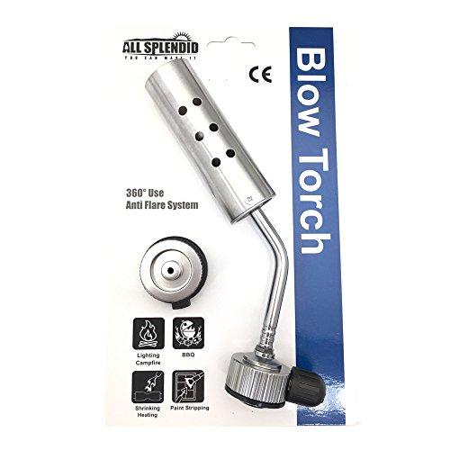 All Splendid Butane Burner - Camping Welding Heating Gas Blow Torch- Kitchen Blow Torch Burner (Silver) - Heating Burners
