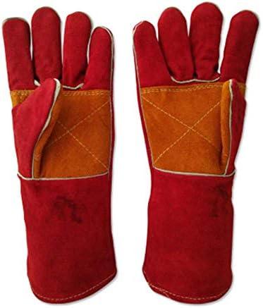 AMAZACER 燃性溶接キャンプファイヤー、グリル、溶接、暖炉料理、薪ストーブ、オーブンやバーベキュー、2pair用牛革は、手袋を溶接します (Size : 5pair)