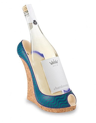 9″ Fashion Avenue Women's Decorative Blue Wave Wedge Shoe Wine Bottle Holder