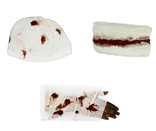 Black Duck Brand Set of 3 Gory Gauze Bandages! Perfect for Spooky Halloween Costumes! (3 Bandages)