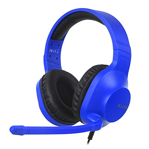 SADES Spirits Over Ear Stereo Gaming Headphones with Mic and Volume Control, Y Splitter Cable, Soft Memory Earmuffs for PC, Laptop, Mac, PS4, Nintendo Switch, Xbox One (2015 Version) (Blue)
