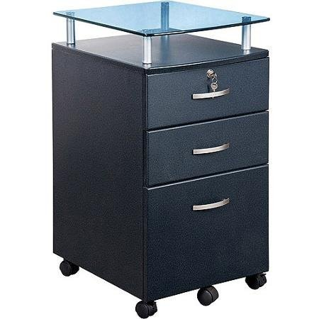 Tempered Glass File Cabinet (Sturdy Vetro Rolling File Cabinet, Graphite - Grey)