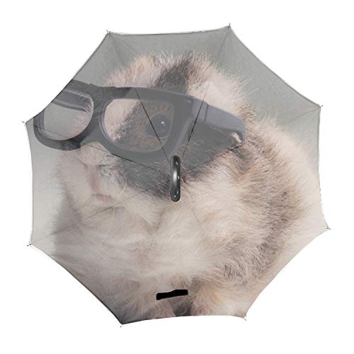 Hamster Wear Sunglasses Double Layer Inverted Umbrella, Self Stand Upside-Down Rain Protection Car Reverse ()