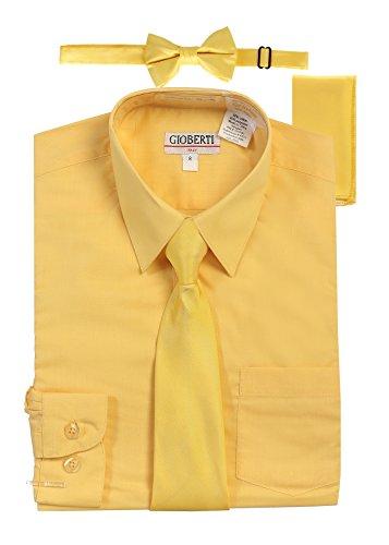 - Gioberti Boy's Long Sleeve Dress Shirt with Zippered Tie, Bow Tie, and Handkerchief Set, Banana, Size 14