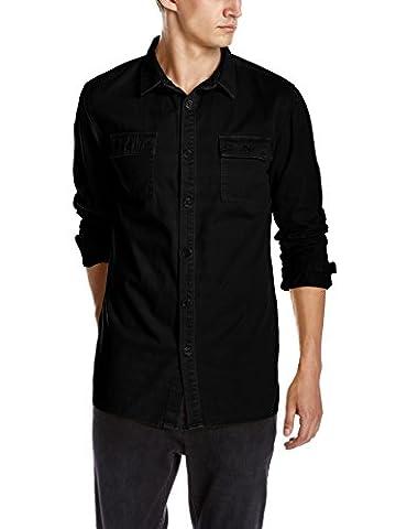 Quality Durables Co. Men's Military Shirt Jacket M Black - Co Black Denim