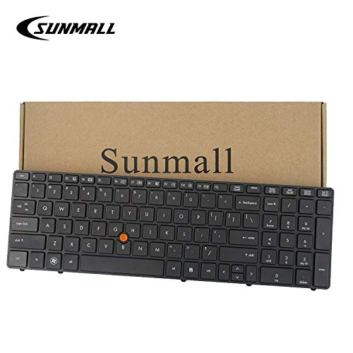 SUNMALL New Laptop Keyboard with Backlit and trackpoint Compatible with HP EliteBook 8560w 8570w 690648-001 690647-001 652682-001 652683-001 55010S800-035-G-US 9Z.N6GBF.101 Black US Layout ()