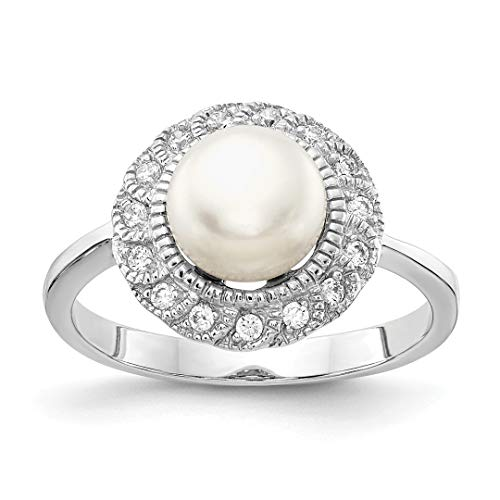 Pearl Akoya Brooch (925 Sterling Silver Cubic Zirconia Cz White Freshwater Cultured Pearl Band Ring Size 8.00 Fine Jewelry Gifts For Women For Her)