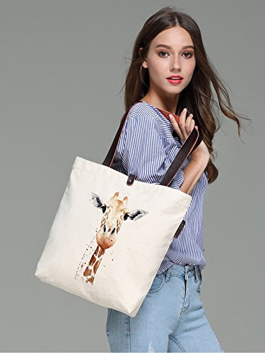 So'each Women's Animal Giraffe Art Graphic Canvas Handbag Tote Shoulder Bag
