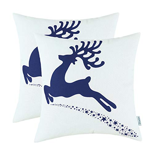 CaliTime Pack of 2 Soft Canvas Throw Pillow Covers Cases for Couch Sofa Home Decoration Christmas Holiday Reindeer with Stars Print 18 X 18 Inches Navy Blue