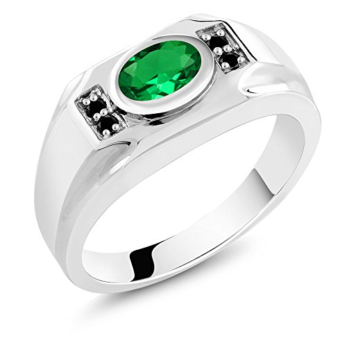- 1.28 Ct Oval Green Nano Emerald Black Diamond 925 Sterling Silver Men's Ring