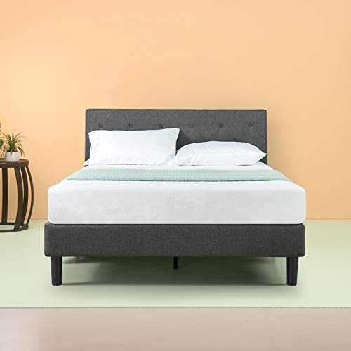 Zinus Upholstered Diamond Stitched Platform Bed with less than 3 Inch spacing Wooden Slat Support, Queen