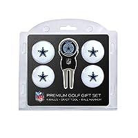 Equipo de golf NFL Dallas Cowboys Regulación Tamaño Bolas de golf (4 unidades) y herramienta Divot con marcador magnético extraíble de doble cara