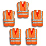 XSHIELD XS0006,High Visibility Mesh Safety Vest with Silver Stripe,ANSI/ISEA 107-2015 Type R Class2 Not FR,Pack of 5 (XL, Orange)