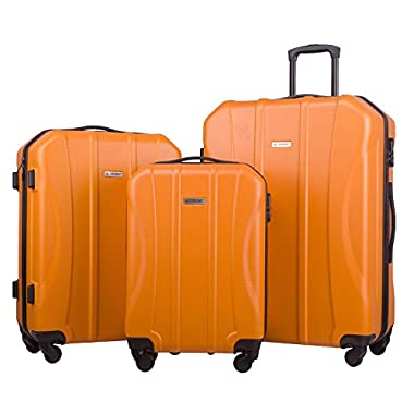 Merax Newest 3-piece Luggage Spinner Suitcase Set ABS Material (Orange)