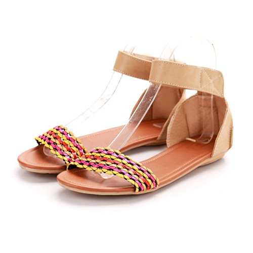 Womens VogueZone009 Toe Assorted Material Open PU Colors Soft Rosered Sandals dF4xwTqFr