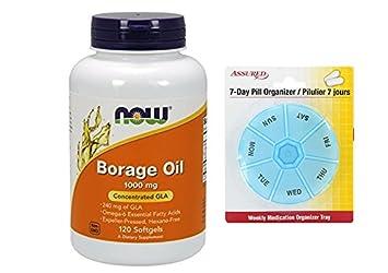 AHORA el aceite de Borraja 1000 mg, 120 cápsulas con gratis 7 días plástico píldora