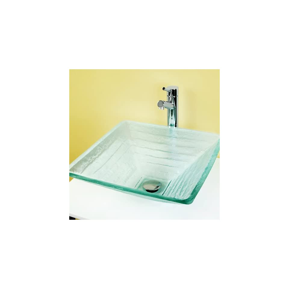 Kingston Brass CV1616VCGKS841 Fauceture 16 1/2 Square Glass Vessel Sink and Sin, Polished Chrome