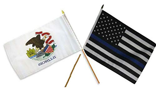 Mikash 12x18 12x18 Wholesale Combo USA Police Blue Illinois State Stick Flag | Model FLG - 3256 ()
