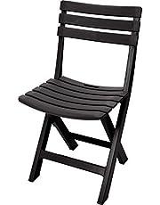 Spetebo Robuuste kunststof klapstoel - antraciet - tuinstoel bistrostoel balkonstoel campingstoel