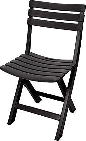 Spetebo Plastique Solide - Couleur - Chaise de Jardin Bistro Chaise de  Balcon Chaise Chaise de Camping Anthracite