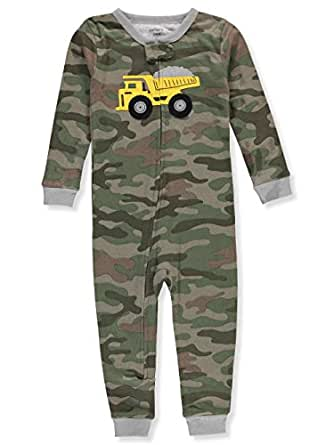 Carter's Baby Boys' 1-Piece Snug Fit Footless Cotton Pajamas (12 Months, Construction Camo)