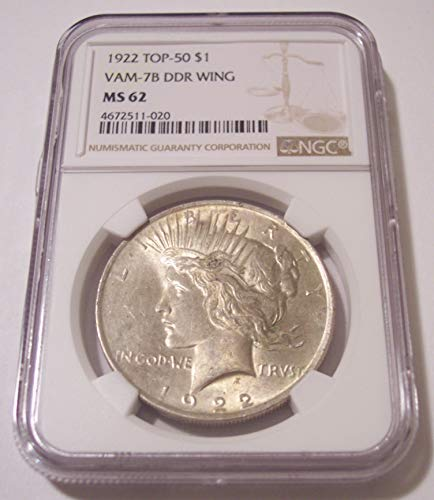 1922 Peace Silver VAM-7B DDR Wing R5 Dollar MS62 NGC