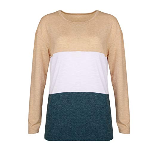 Automne Manches Chemises Shirts Shirts Jumper Tee Sweat Longues Printemps Shirts Chemisiers Pulls T Rond Haut Tops Blouse et Patchwork Femme Col Casual Fashion a8nqBw5P