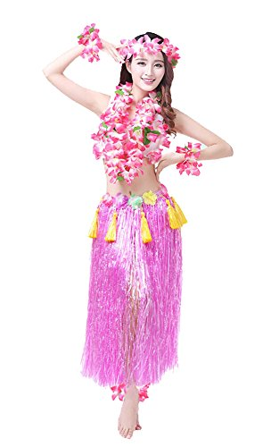 Rosemary Hawaiian Hula Dance Costume Ballet Show Cosplay Dress Skirt Garland For Adult 80CM Full Sets ()