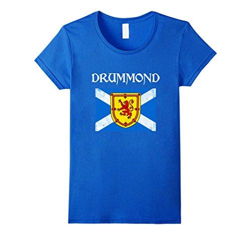 Womens Drummond Scottish Clan T Shirt Coat Arms Lion Flag XL Royal (Drummond Clan Shop)