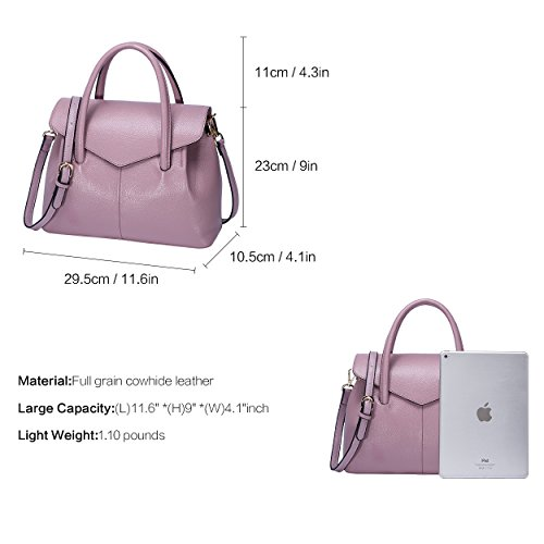 Real Satchel Elegant Business Pink for BOYATU Bag Handle Top Women Handbag Leather dpwxqnX0A