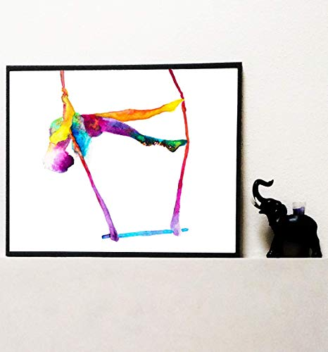 The serene trapeze - Trapeze circus art - Fine Art Print watercolor painting - Trapeze artist gift - Circus gift ()