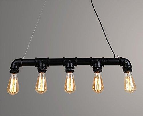 Glighone Lámpara Colgante Lámpara Antigua Luz Industrial Lámpara Vintage de Tubo 60W*5 Interfaces Luz de Techo Luz de Pantalla de Cuerdas Iluminación ...