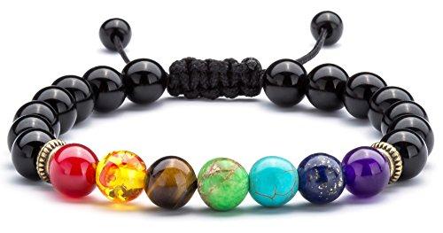 Chakras The Seven (Hamoery Men Women 8mm Lava Rock 7 Chakras Beads Bracelet Braided Rope Natural Stone Yoga Bracelet Bangle (Black Agate))