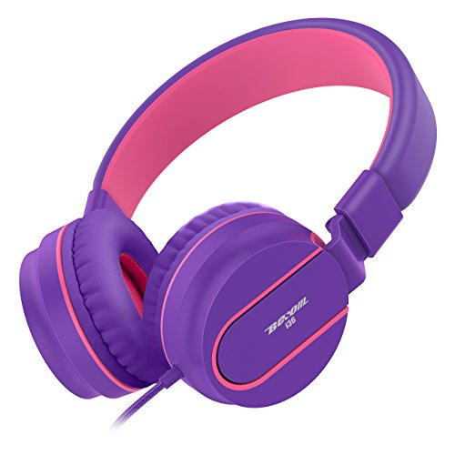 Headphones,Besom i36 Kids Nylon braided cord Stereo Lightweight Foldable Headphones Adjustable Headband Headsets with Microphone 3.5mm for iPhone/Andrews Couples headphones (Purple Pink)