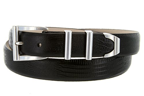 Lizard Dress Belt (S5998 - Men's Italian Calfskin Designer Dress Belt with Silver Plated Buckle Set (36 Lizard)