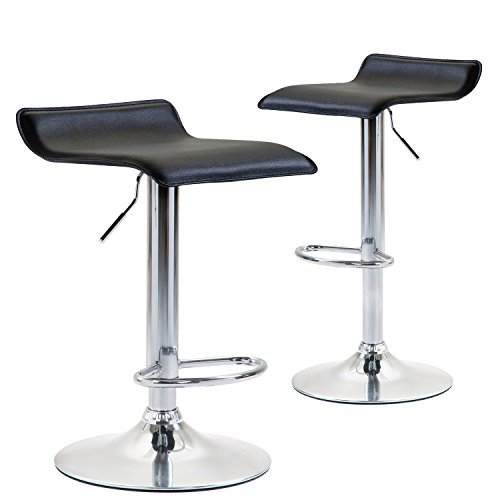 Modern Swivel Bar Stool (warm pastoral Modern PU Leather Adjustable Bar Stools, Set of 2, Counter Height Chrome Finished Swivel Dining Chairs, Black Hydraulic Barstools for Kitchen)