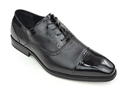 Moda Di Raza Mens Oxford Lace Dress Shoes Elegante Lucentezza Alla Moda Nero Lucido