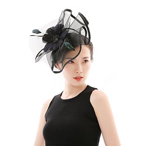 Fascinators Hat Flower - Feather Mesh Net Veil Hat Flower Derby Hat for  Women 44146f4dcc97
