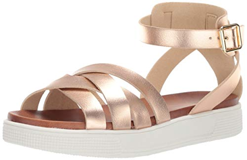 MIA Shoes Women's Valerie Sport Sandal, Rose Gold, 7.5 Medium US