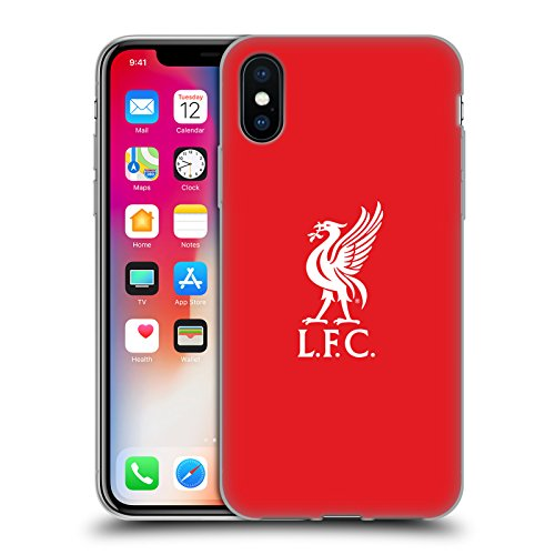 (Official Liverpool Football Club White Logo in Red Liver Bird Soft Gel Case for iPhone X/iPhone Xs)