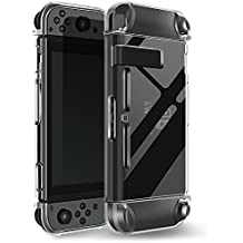 Switch Case,Findway  Switch Premium Crystal Clear Shock Absorption Technology Bumper Soft Protective TPU Cover Case for Switch Console & Accessories
